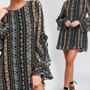 NEW Lulus Floral Ruffled Long Sleeve Boho Dress XL